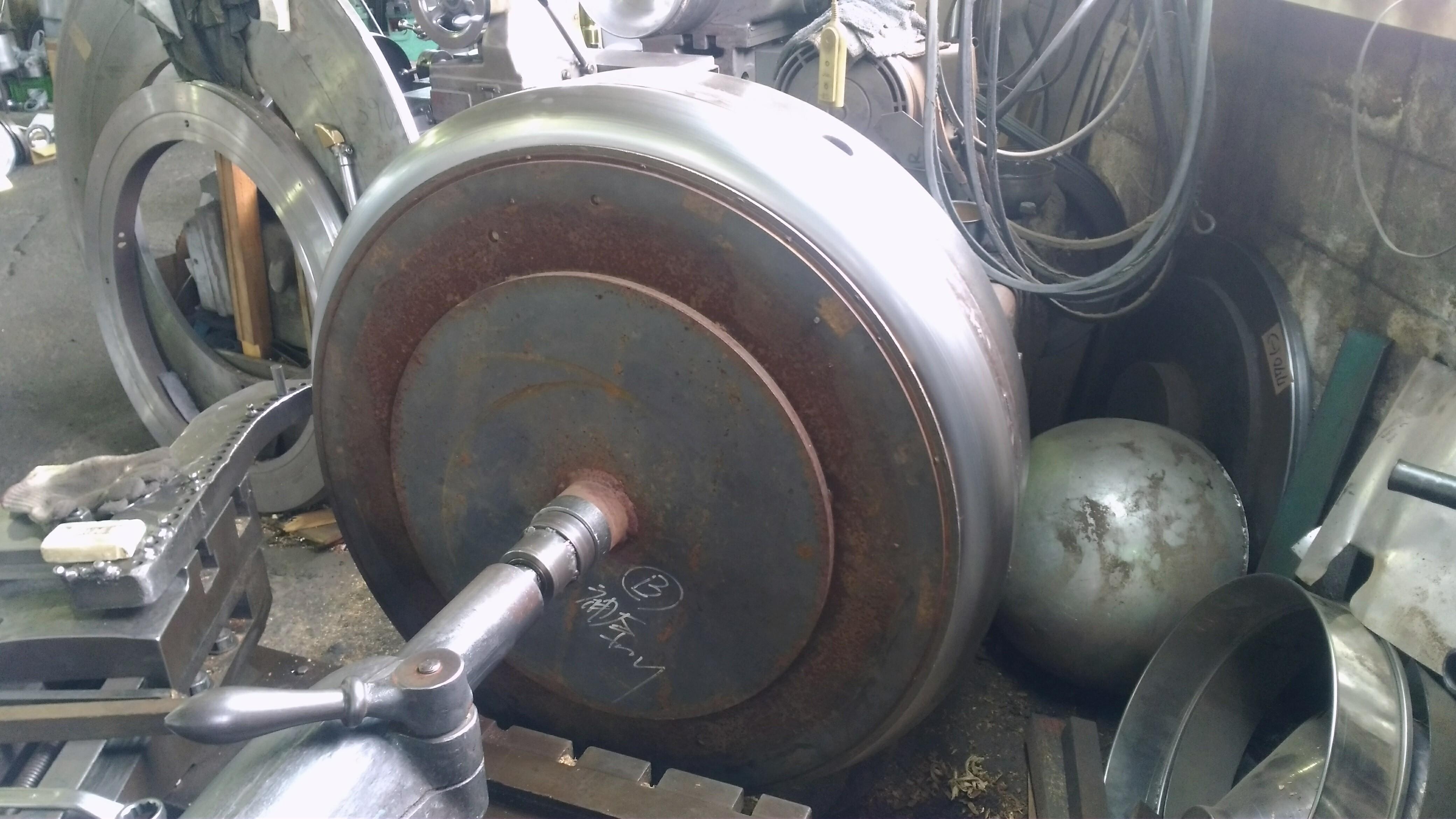 鉄(フェンダー)ヘラシボリ加工段取り